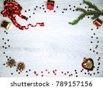 christmas background with fir... | Shutterstock . vector #789157156