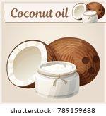 coconut oil in bottle. cartoon... | Shutterstock .eps vector #789159688