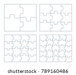 Sets Of Puzzle Pieces Vector...