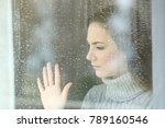 portrait of a sad girl looking...   Shutterstock . vector #789160546