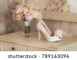 bridal bouquet and ivory high...   Shutterstock . vector #789163096