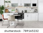 modern kitchen interior with... | Shutterstock . vector #789165232