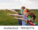 cute child in super hero... | Shutterstock . vector #789182776