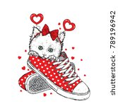 Stock vector lovely kitten in sneakers with a festive rim on his head vector illustration for a postcard or a 789196942