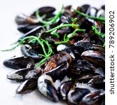 boiled mussels with seaweed ... | Shutterstock . vector #789206902
