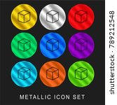 blank cube 9 color metallic... | Shutterstock .eps vector #789212548