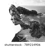 double exposure. portrait of a... | Shutterstock . vector #789214906