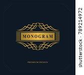 beautiful line monogram. gold... | Shutterstock .eps vector #789214972