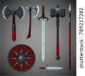 antique edged weapons... | Shutterstock .eps vector #789217282