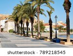 empty palm lined seafront...   Shutterstock . vector #789218545