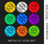 cube outline 9 color metallic... | Shutterstock .eps vector #789227332
