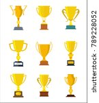 winner trophy gold cups flat...   Shutterstock .eps vector #789228052