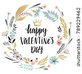valentine s day callygraphic... | Shutterstock .eps vector #789229462