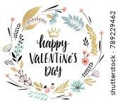 valentine s day callygraphic... | Shutterstock .eps vector #789229462