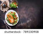 red fish on plate and on a table | Shutterstock . vector #789230908