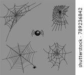cobweb set spider web halloween ... | Shutterstock .eps vector #789236842