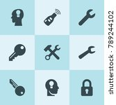 set of 9 key filled icons such... | Shutterstock .eps vector #789244102