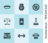 set of 9 weight filled icons... | Shutterstock .eps vector #789244165
