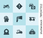 set of 9 accident filled icons... | Shutterstock .eps vector #789247312