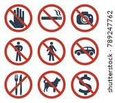 prohibition signs set safety on ...   Shutterstock .eps vector #789247762
