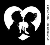 silhouettes of loving couple on ... | Shutterstock .eps vector #789249355
