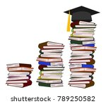 stack of books with graduation... | Shutterstock .eps vector #789250582