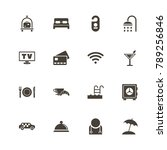 hotel icons. perfect black... | Shutterstock .eps vector #789256846
