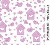 Cute seamless pattern with birds, birdhouses and hearts.Template for design, fabric, print. Greeting card Valentine's Day.