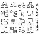 vector line folder tree icons... | Shutterstock .eps vector #789260128