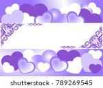 frame of blue hearts on a blue... | Shutterstock .eps vector #789269545