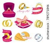 wedding rings vector engagement ... | Shutterstock .eps vector #789271846