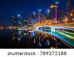 night cityscape of singapore... | Shutterstock . vector #789272188