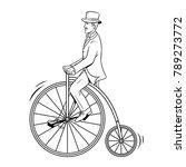 gentleman ride vintage bicycle... | Shutterstock .eps vector #789273772