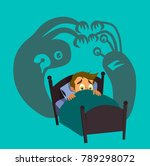 little boy can not sleep... | Shutterstock .eps vector #789298072