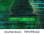 Small photo of Cryptojacking concept, computer hacker with hoodie and lines of script code overlaying image
