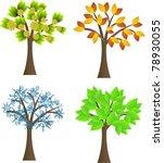 seasonal trees set | Shutterstock .eps vector #78930055