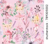 beautiful watercolor floral... | Shutterstock . vector #789305002