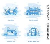 modern flat color line concept... | Shutterstock .eps vector #789306178