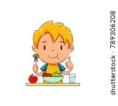 kid eating salad | Shutterstock .eps vector #789306208