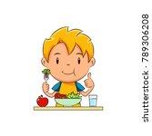 kid eating salad | Shutterstock .eps vector #789306208