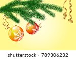 christmas tree branches with... | Shutterstock .eps vector #789306232