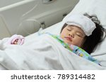 little kid is sleeping at the... | Shutterstock . vector #789314482