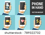 hand using vector mobile phone... | Shutterstock .eps vector #789322732