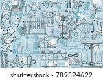 vector seamless pattern with... | Shutterstock .eps vector #789324622