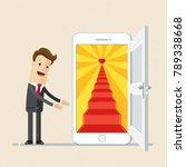 businessman open the door to... | Shutterstock .eps vector #789338668