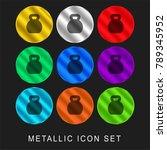 kettlebells 9 color metallic... | Shutterstock .eps vector #789345952