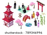 japanese isometric elements ... | Shutterstock .eps vector #789346996