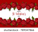 realistic red rose st valentine'... | Shutterstock .eps vector #789347866
