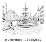 stroget street. copenhagen.... | Shutterstock .eps vector #789352582