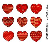vector hearts set for wedding... | Shutterstock .eps vector #789358162